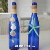 Handmade lọ hoa bằng vỏ chai cho đám cưới biển
