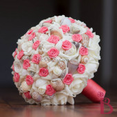 Hoa cưới cầm tay vỏ sò ốc Coral Satin Rosettes HC09