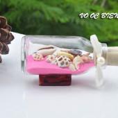 Lọ thủy tinh cát & vỏ ốc đế gỗ (10×5) LCDG105_01