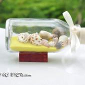 Lọ thủy tinh cát & vỏ ốc đế gỗ (10×5) LCDG105_04