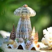 Đèn ngủ vỏ ốc cối hạt mè & 1 nhum biển ĐN17