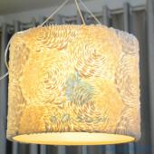 Đèn treo trần hình trụ đính vỏ sò ốc hoa hồng