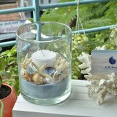 Lọ thuỷ tinh nến – vỏ sò ốc 11×15 (xanh biển)