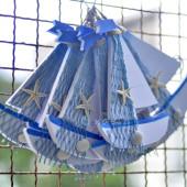 Thuyền xanh trang trí biển 20cm TAG09