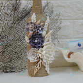 Lọ thuỷ tinh cuộn bố – hoa vỏ sò LOTK_36