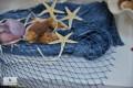 Lưới cá trang trí đính vỏ sò 1mm (xanh biển)