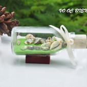 Lọ thủy tinh cát & vỏ ốc đế gỗ (10×5) LCDG105_08