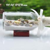 Lọ thủy tinh cát & vỏ ốc đế gỗ (10×5) LCDG105_10