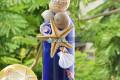 Lọ thủy tinh xanh dương đính vỏ ốc LOTK_05