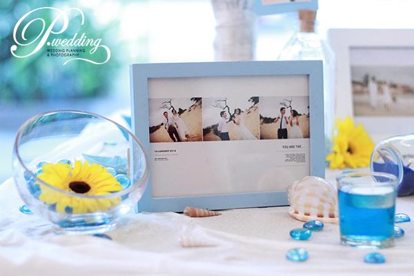 Để trang trí đám cưới biển, các cô dâu có thể chọn gam màu xanh như màu của nước đại dương.