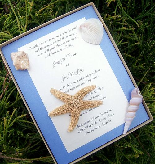 Chất liệu thật từ biển trang trí cho thiệp cưới