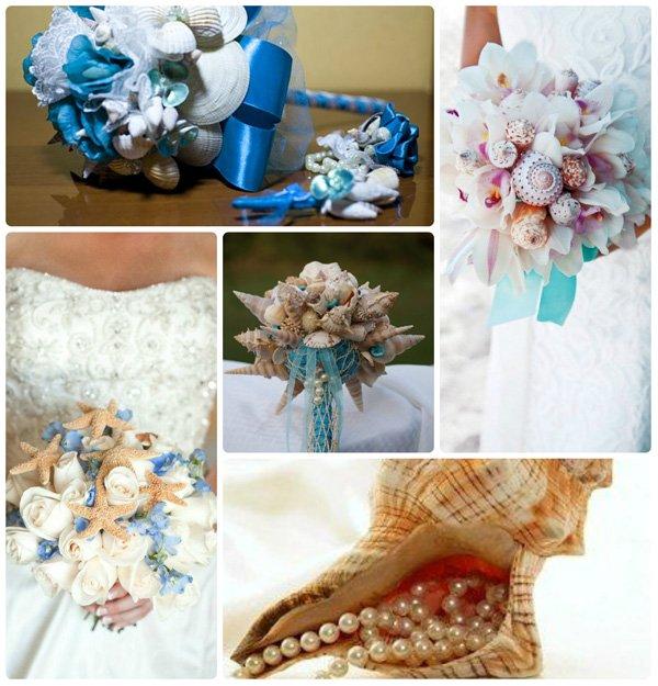 Đám cưới biển độc đáo hoa cưới vỏ sò, vỏ ốc