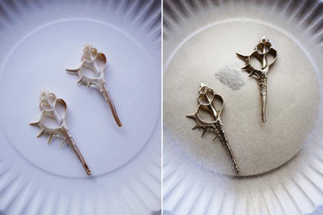 đặt vỏ ốc lát mỏng trên mặt đĩa nhựa và phun sơn nhủ.
