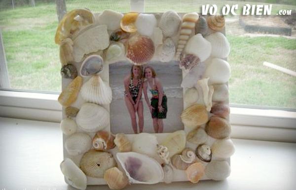 handmade khung ảnh lạ mắt với vỏ ốc biển