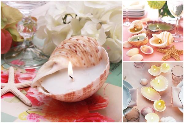 Làm đồ đựng nến bằng vỏ sò, vỏ ốc