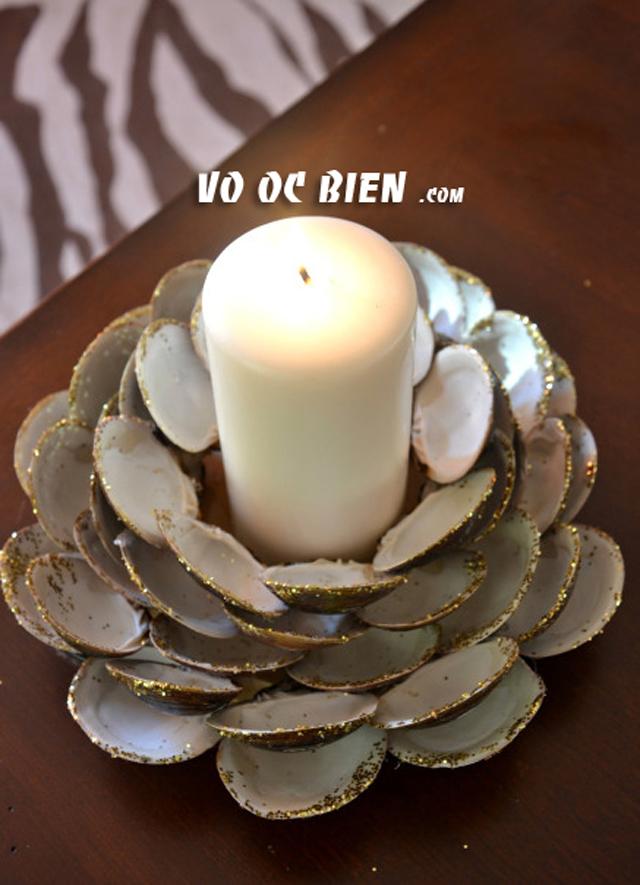 Handmade chân nến bằng vỏ sò