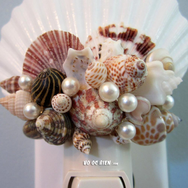 phong cách dịu dàng từ đèn ngủ vỏ ốc biển