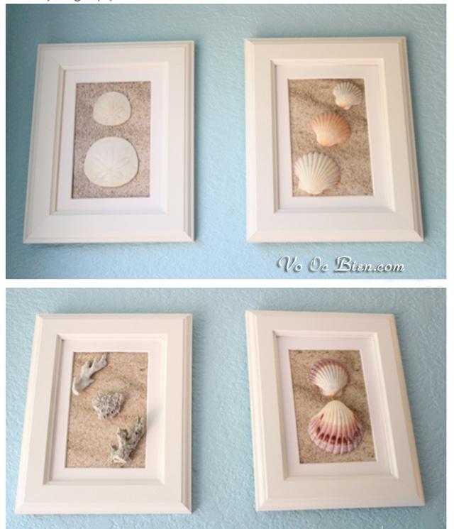 Khung tranh đơn giản kết hợp vải nỉ & vỏ ốc biển