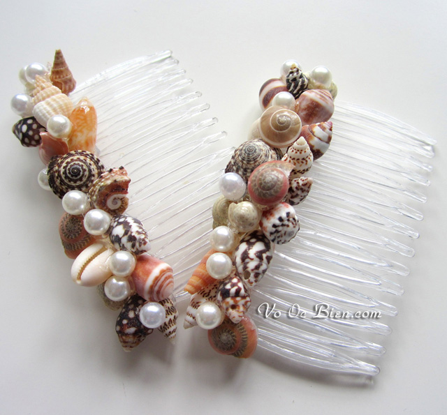Handmade lược cài dùng vỏ ốc biển độc đáo