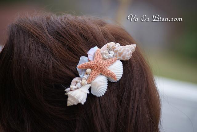 Lược cài tóc đẹp với vỏ sò, vỏ ốc & sao biển