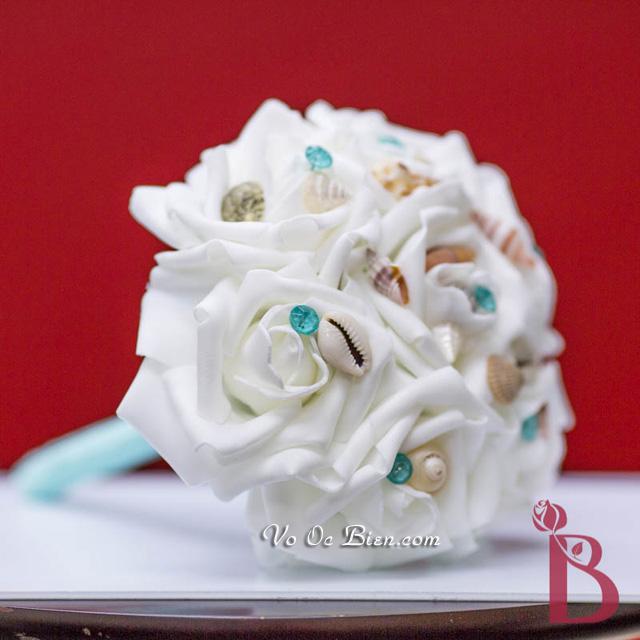 Hoa cưới cầm tay vỏ sò ốc Aqua Mini HC01
