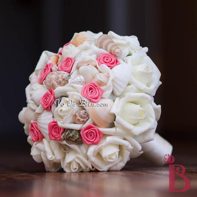 Hoa cưới cầm tay vỏ sò ốc Coral Bridesmaid HC03