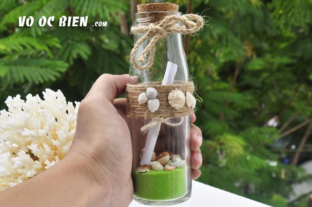 Lọ thủy tinh cát vỏ ốc 15×5 MB17 (message bottle)