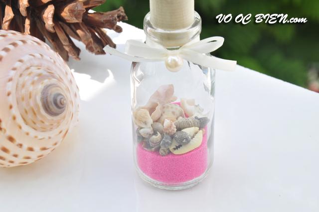 Lọ thủy tinh cát & vỏ ốc đứng Pink (10x5) LC105_01
