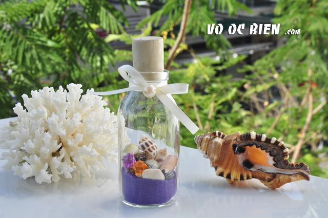 Lọ thủy tinh cát & vỏ ốc đứng Purple (10×5) LC105_06
