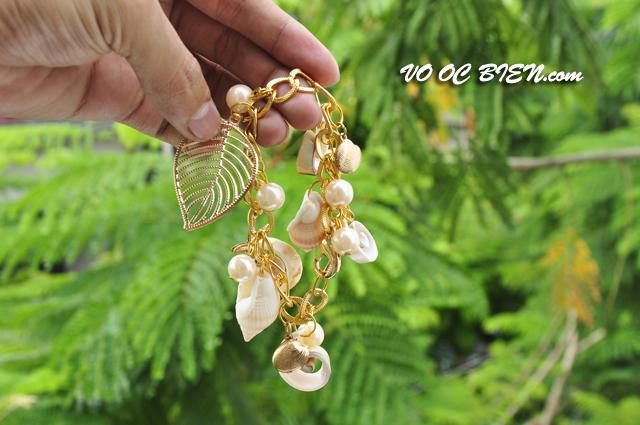 Lắc đeo tay vỏ sò ốc LDT01 (dây vàng)