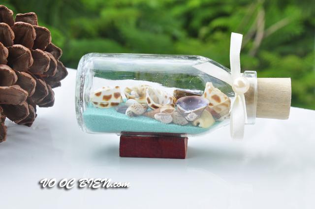 Lọ thủy tinh cát & vỏ ốc đế gỗ (10×5) LCDG105_02