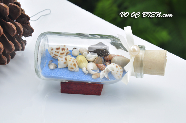 Lọ thủy tinh cát & vỏ ốc đế gỗ (10×5) LCDG105_05