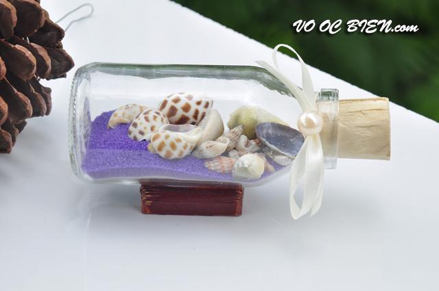Lọ thủy tinh cát & vỏ ốc đế gỗ (10×5) LCDG105_06