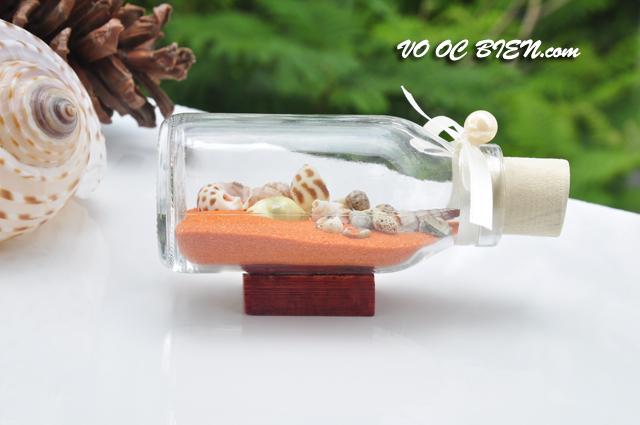 Lọ thủy tinh cát & vỏ ốc đế gỗ (10×5) LCDG105_07