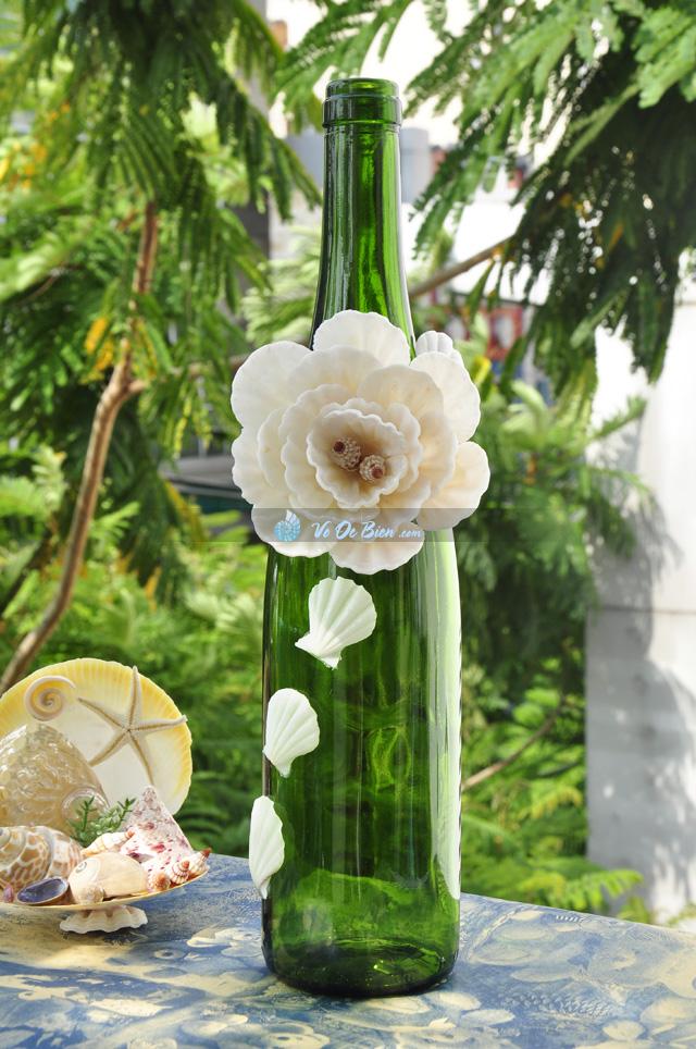 Lọ thủy tinh xanh rêu đính vỏ ốc LOTK_07
