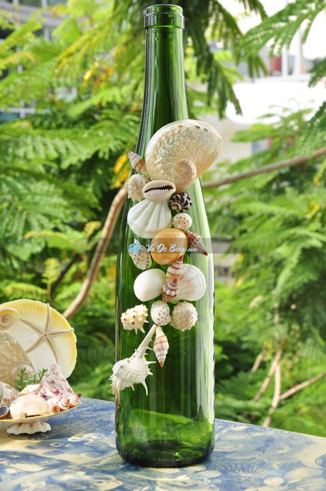 Lọ thủy tinh xanh rêu đính vỏ ốc LOTK_08
