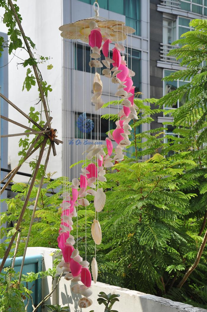 Chuông gió vỏ sò ốc lớn – phun màu CG15