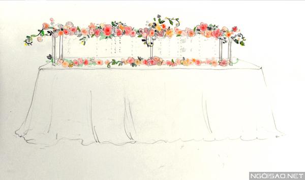 Bản vẽ tay thiết kế hoa bàn dài.