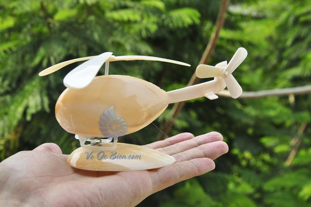 Máy bay trực thăng ốp trai vàng & vỏ ốc QLN_09