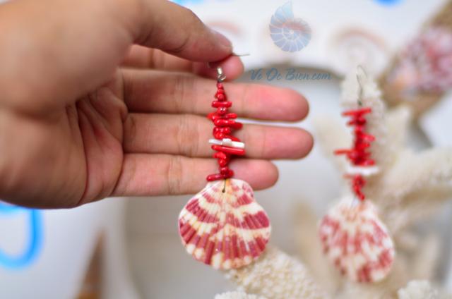 Bông tai san hô đỏ & sò điệp BTVO_05 - hình chụp tại VoOcBien