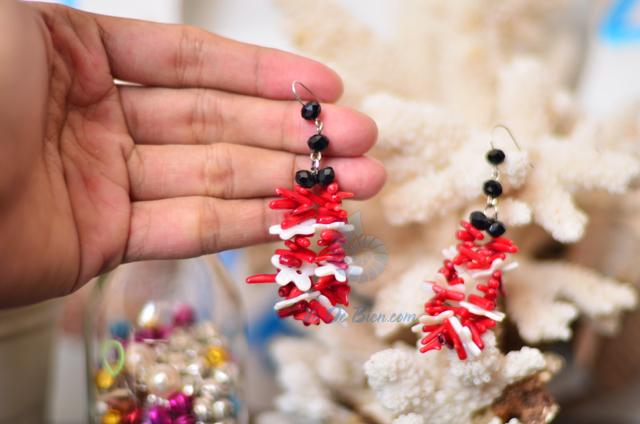 Bông tai san hô đỏ & trai trắng BTVO_o6 - hình chụp tại VoOcBien