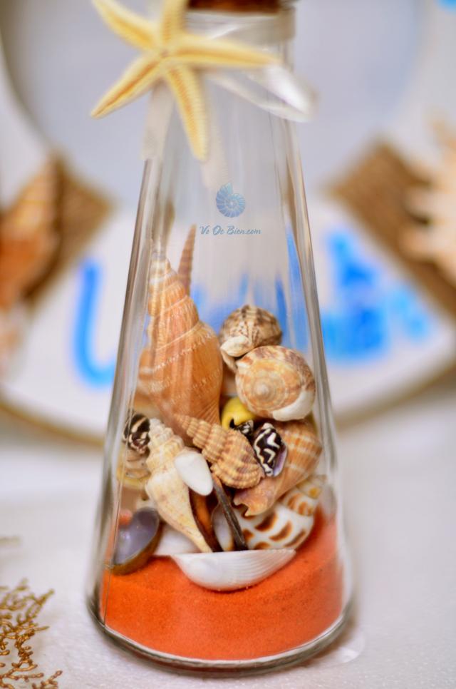 Lọ thủy tinh tháp cát & vỏ ốc (20×6) LC206_14 - hình chụp tại VoOcBien