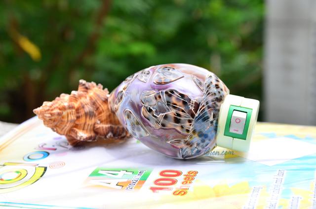 Đèn ngủ vỏ ốc gấm mài khắc ĐN24 - © bản quyền hình chụp tại VoOcBien
