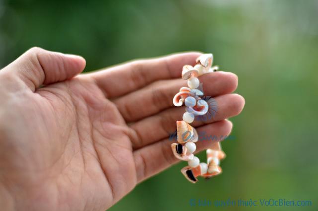 Lắc tay vỏ ốc nhảy đỏ & đụn bi tròn LDT07 - © bản quyền hình ảnh thuộc VoOcBien.com