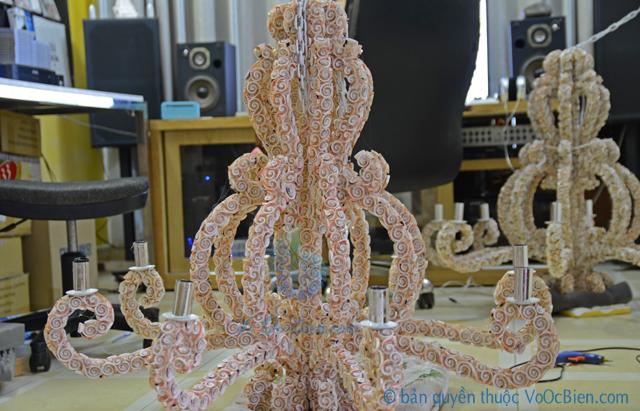 Đèn treo trần bạch tuộc vỏ ốc