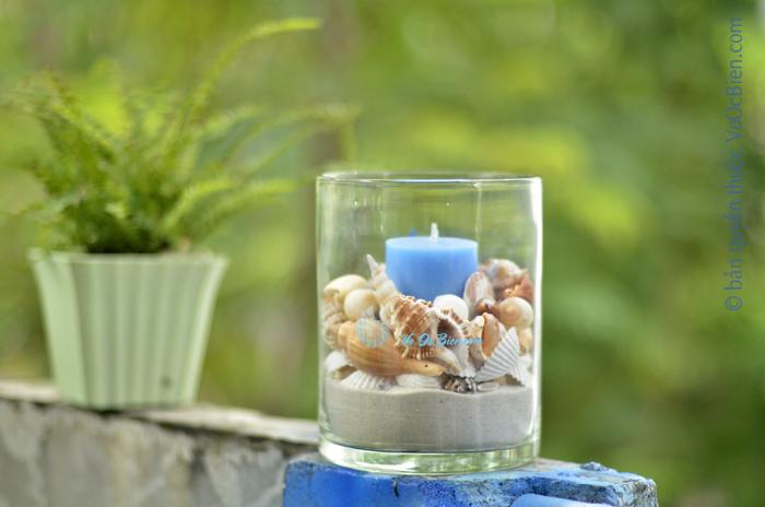 Lọ thuỷ tinh nến - vỏ sò ốc 15x20