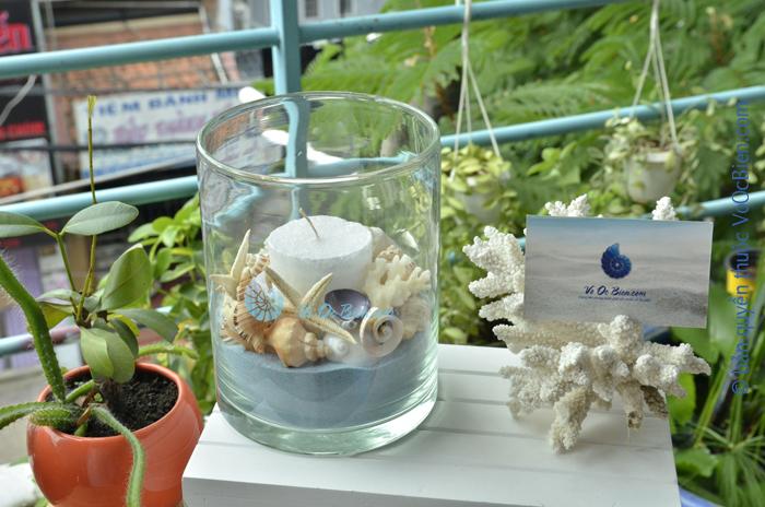 Lọ thuỷ tinh nến – vỏ sò ốc 11×15 (xanh biển) LOTK_41