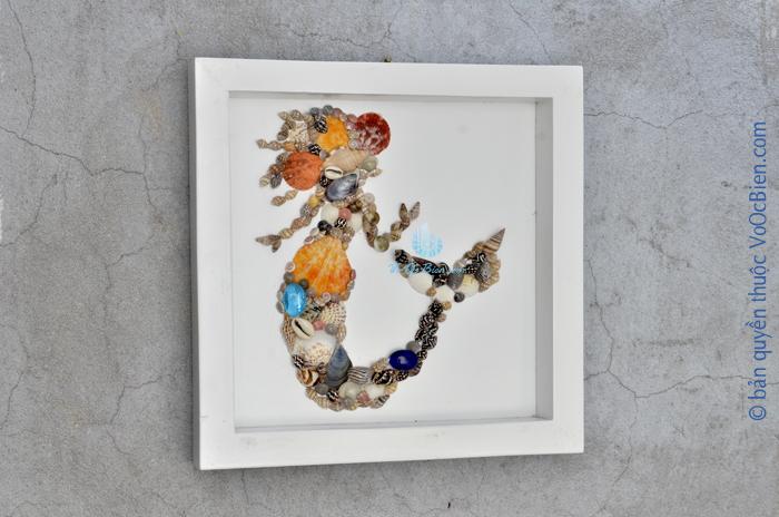 Khung tranh nàng tiên cá vỏ sò ốc TO31