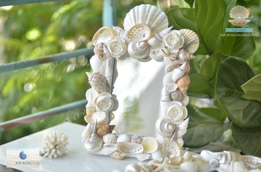 Khung gương để bàn kết vỏ sò ốc biển KG01