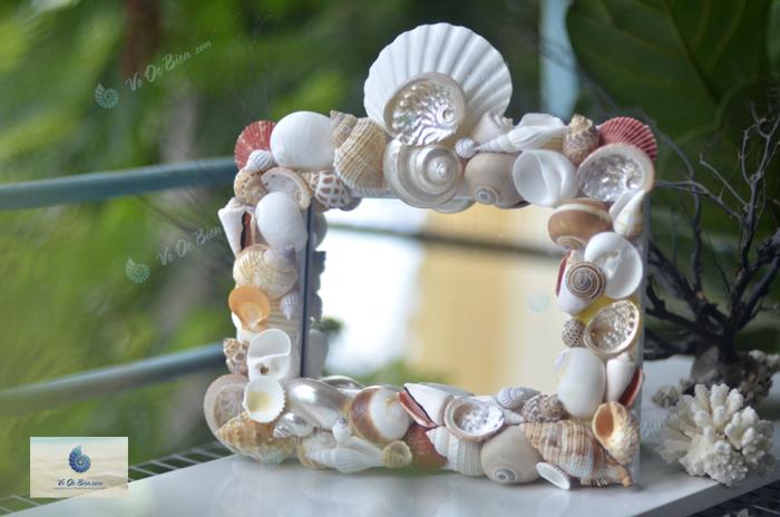Khung gương để bàn kết vỏ sò ốc biển KG02